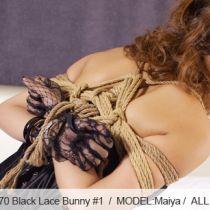 No.00270 Black Lace Bunny #1  レースの手袋とウサギの耳、神秘的な黒色眼帯。舞弥の緊縛芸術