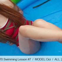No.00370 Swimming Lesson #7 [29Pics] 赤いスクール水着にパンスト、長脚女子校生は菱縄縛りられて授業します。