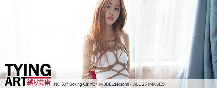 No.00537 Boxing Girl #2 [25Pics] 白色競泳水着の格闘する女の子は全身縄で縛られます、食い込む股縄。